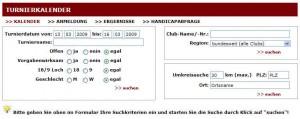 Turnierkalender (Quelle: Screenshot golf.de)