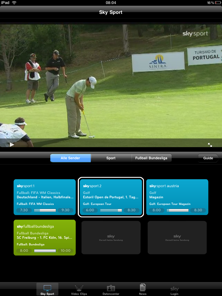 golf auf dem ipad mit der sky sport app mein golf blog. Black Bedroom Furniture Sets. Home Design Ideas